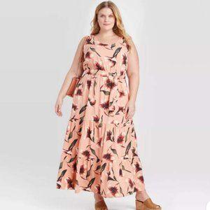 NWT Floral Maxi Dress Coral Peach Sz 2X Ava & Viv